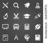 trendy education icons on black.... | Shutterstock .eps vector #166520951