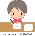 senior woman writing on a paper   Shutterstock .eps vector #1665240781
