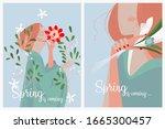 set of cute spring vector... | Shutterstock .eps vector #1665300457