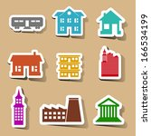building icons set on color...