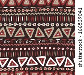 Hand drawn ethnic seamless pattern in African style. Endless tribal background in terracotta tones - stock vector