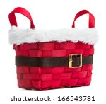 Red Basket Isolated On White...