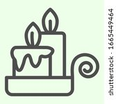 Night Candle Line Icon. Two...