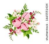 vector bouquet of pink tulip... | Shutterstock .eps vector #1665551434