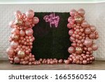 Decor with balloons of pink  ...