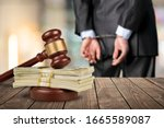 Wooden Gavel With Paper Dollar...