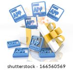 isolated 3d rendered gift on... | Shutterstock . vector #166560569