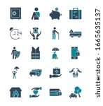 silhouette style icon set... | Shutterstock .eps vector #1665635137