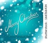 merry christmas card. turquoise ... | Shutterstock .eps vector #166566434