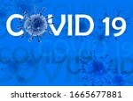 Small photo of Coronavirus disease COVID-19 infection, medical illustration. New official name for Coronavirus disease named COVID-19, pandemic risk, blue background