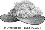 woman hat with ostrich feather...   Shutterstock .eps vector #1665701377