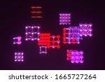 molecule style inter locked... | Shutterstock . vector #1665727264