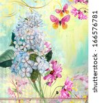 Floral Background With Flower'...