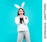 Happy Easter. Funny Girl With...
