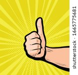 thumbs up  success. retro comic ... | Shutterstock .eps vector #1665775681