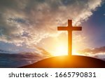 Christian Wooden Cross On The...