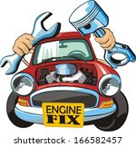 car with wrench and piston | Shutterstock .eps vector #166582457