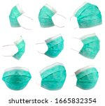 Set of green anti virus surgical face masks, isolated on white. Elements for digital photo montage. Fine and accurate cut. Very high resolution photo, each mask is about 12 Megapixels.