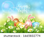 easter theme with eggs and... | Shutterstock .eps vector #1665832774