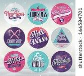 christmas set   labels  emblems ... | Shutterstock .eps vector #166584701