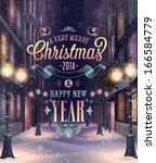 christmas poster. vector... | Shutterstock .eps vector #166584779
