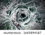 Small photo of Small boat escape from the horrible whirlpool.