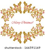 Gold holly berry frame. Christmas background - stock vector