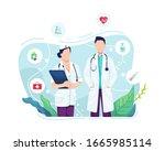 vector illustration doctor and...   Shutterstock .eps vector #1665985114