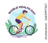man riding bicycle for world... | Shutterstock .eps vector #1665997567