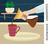 the girl pours coffee from... | Shutterstock . vector #1666004551