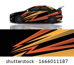 sports car wrapping decal design | Shutterstock .eps vector #1666011187