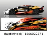 sports car wrapping decal design | Shutterstock .eps vector #1666022371