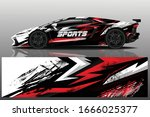 sports car wrapping decal design | Shutterstock .eps vector #1666025377