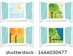 cartoon window view. all 4... | Shutterstock .eps vector #1666030477