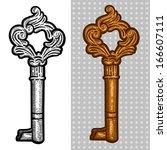 vintage old key. engraving... | Shutterstock .eps vector #166607111