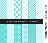 turquoise and white jumbo polka ... | Shutterstock .eps vector #166608749