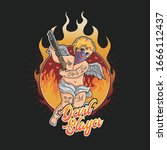 devil slayer tattoo with flame... | Shutterstock .eps vector #1666112437
