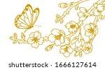butterfly and cherry blossom...   Shutterstock .eps vector #1666127614