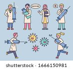 doctors are carrying a large... | Shutterstock .eps vector #1666150981