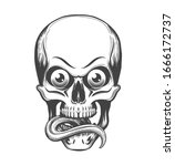 human skull with eyes and... | Shutterstock .eps vector #1666172737