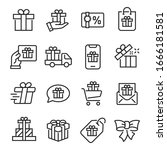 gift icon set.  ollection of... | Shutterstock .eps vector #1666181581