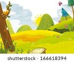 cartoon scenery   summer  ...   Shutterstock . vector #166618394