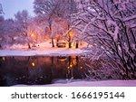 Winter Snow Park River Night...