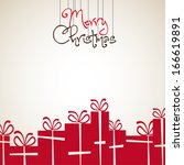 retro christmas card with...   Shutterstock .eps vector #166619891