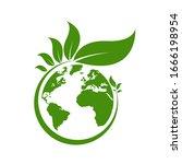 ecology world symbol  icon. eco ...   Shutterstock .eps vector #1666198954