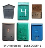 "Small photo of ""mail """"mail apartment """"for letters and Newspapers"" set of old rusty metal mailboxes isolated on a white background"