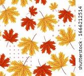 seamless pattern of maple leaf. ... | Shutterstock .eps vector #1666212514