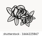 rose retro old school tattoo... | Shutterstock .eps vector #1666225867