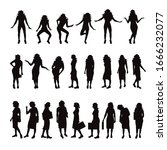 vector silhouette of collection ... | Shutterstock .eps vector #1666232077