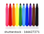 colored markers isolated on... | Shutterstock . vector #166627271